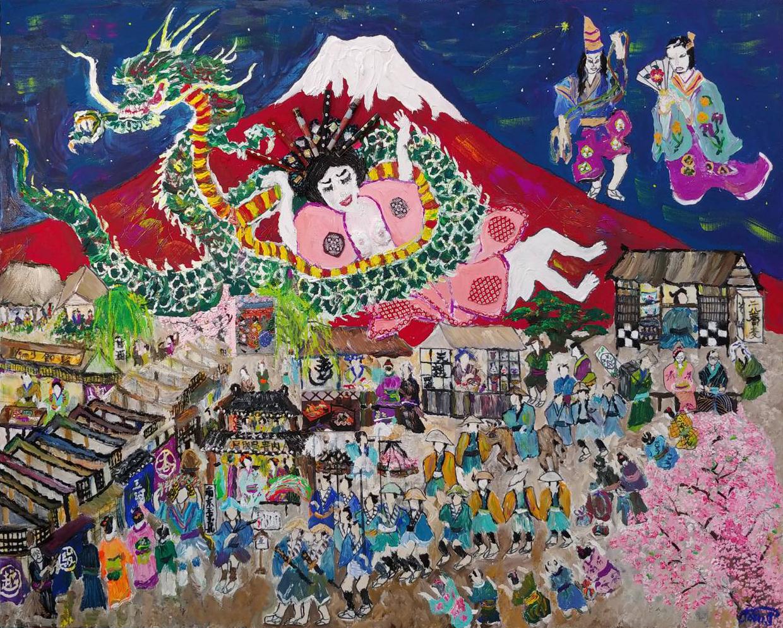 富士山と江戸時代の庶民の暮しF30